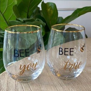 MIKASA Set of 2 Stemless Wine Glasses Bees